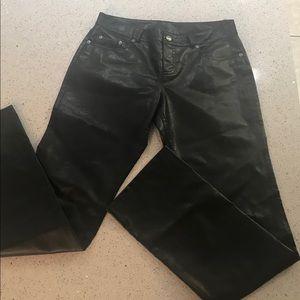 Express black faux leather vinyl pants size 3/4